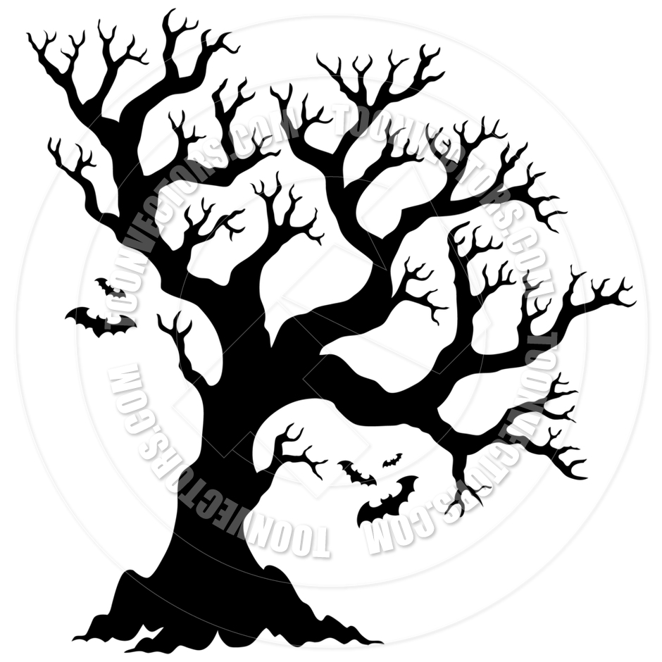 Cartoon Silhouette Halloween Tree With Bats By Clairev   Toon Vectors