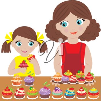 Clip Art Illustration Of A Mother And Her Daughter Making Cupcakes