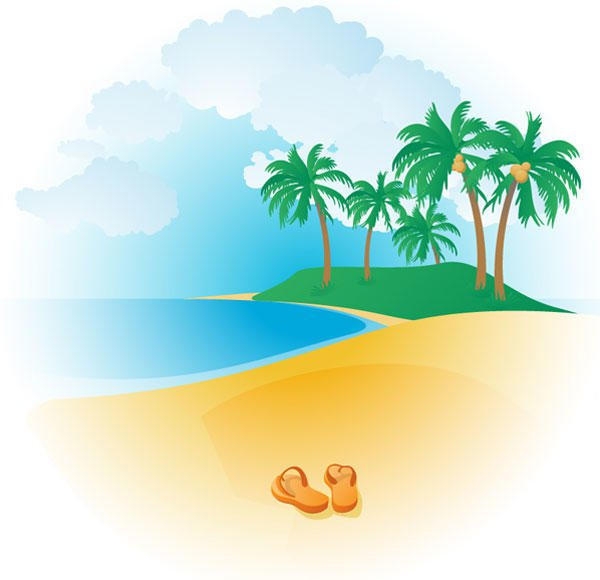 Free Tropical Beach Vector   123freevectors