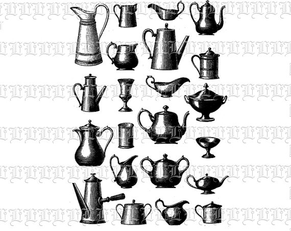 Kitchen Vessels Antique Water Jugs Digital High Quality Clip Art 2005