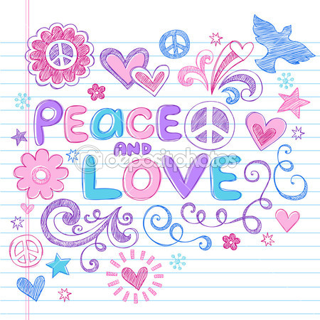 Peace And Love Sketchy Doodle Back To School Vector Design Elements