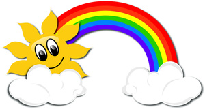 Rainbow Clipart Image   Cartoon Drawing Of A Rainbow And Sun With