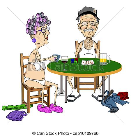 Stock Illustration Of Senior Couple Playing Strip Poker   Cartoon