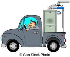 Truck Hauling A Furnace   This Illustration Depicts A Man
