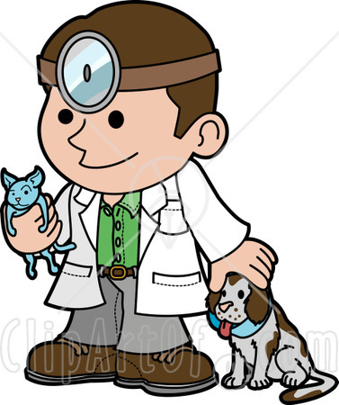 24748 Clipart Illustration Of A Friendly Male Veterinarian Petting A