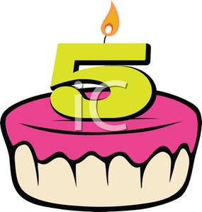 Birthday Cake With A Number 5 Candle   Royalty Free Clipart Picture