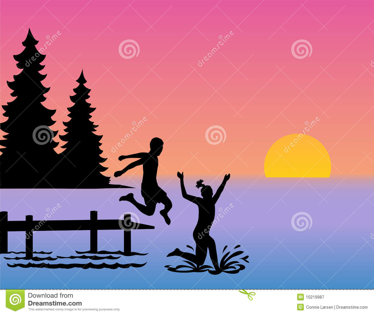 Children Jumping Into Lake Eps Royalty Free Stock Photography   Image