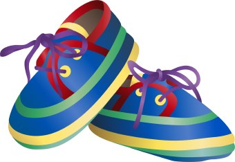 Clip Art Of A Pair Of Colorful Baby Shoes