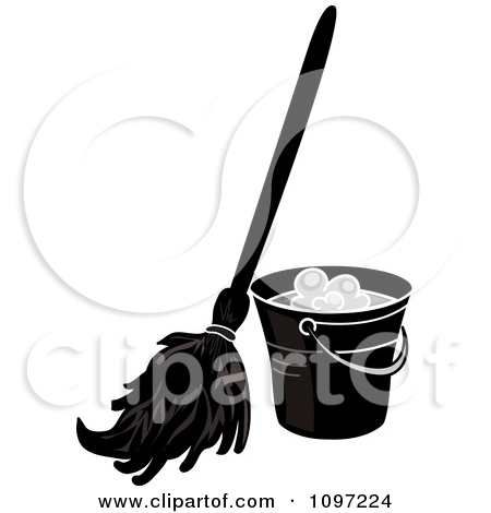 Black and white mop and bucket