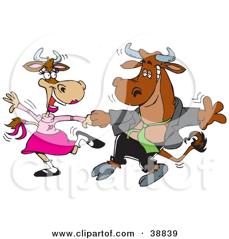 Clipart Illustration Of A Handsome Young Bull Dancing With A Lady Cow