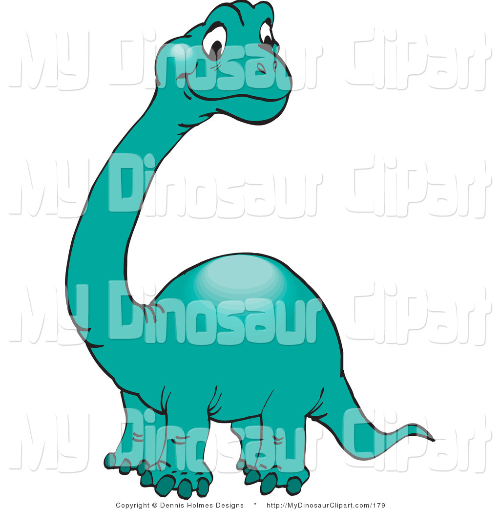Clipart Of A Cute Green Brontosaurus Or Apatosaurus With A Long Neck