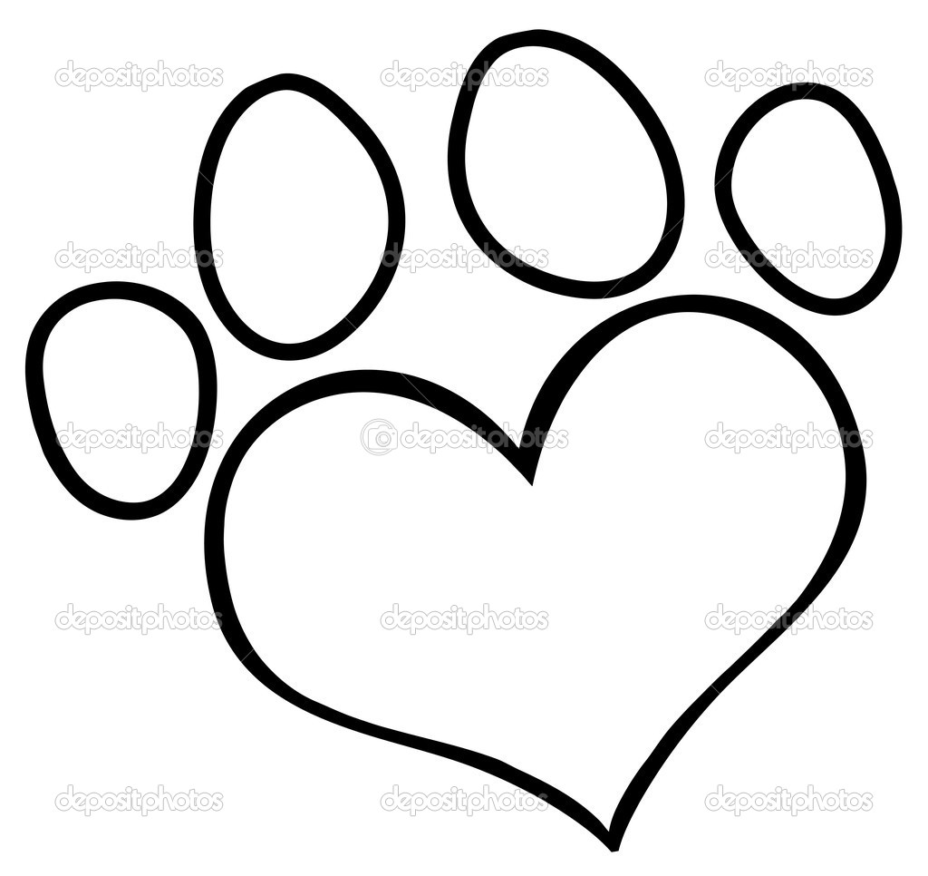 Paw Print Outline Clipart - Clipart Kid