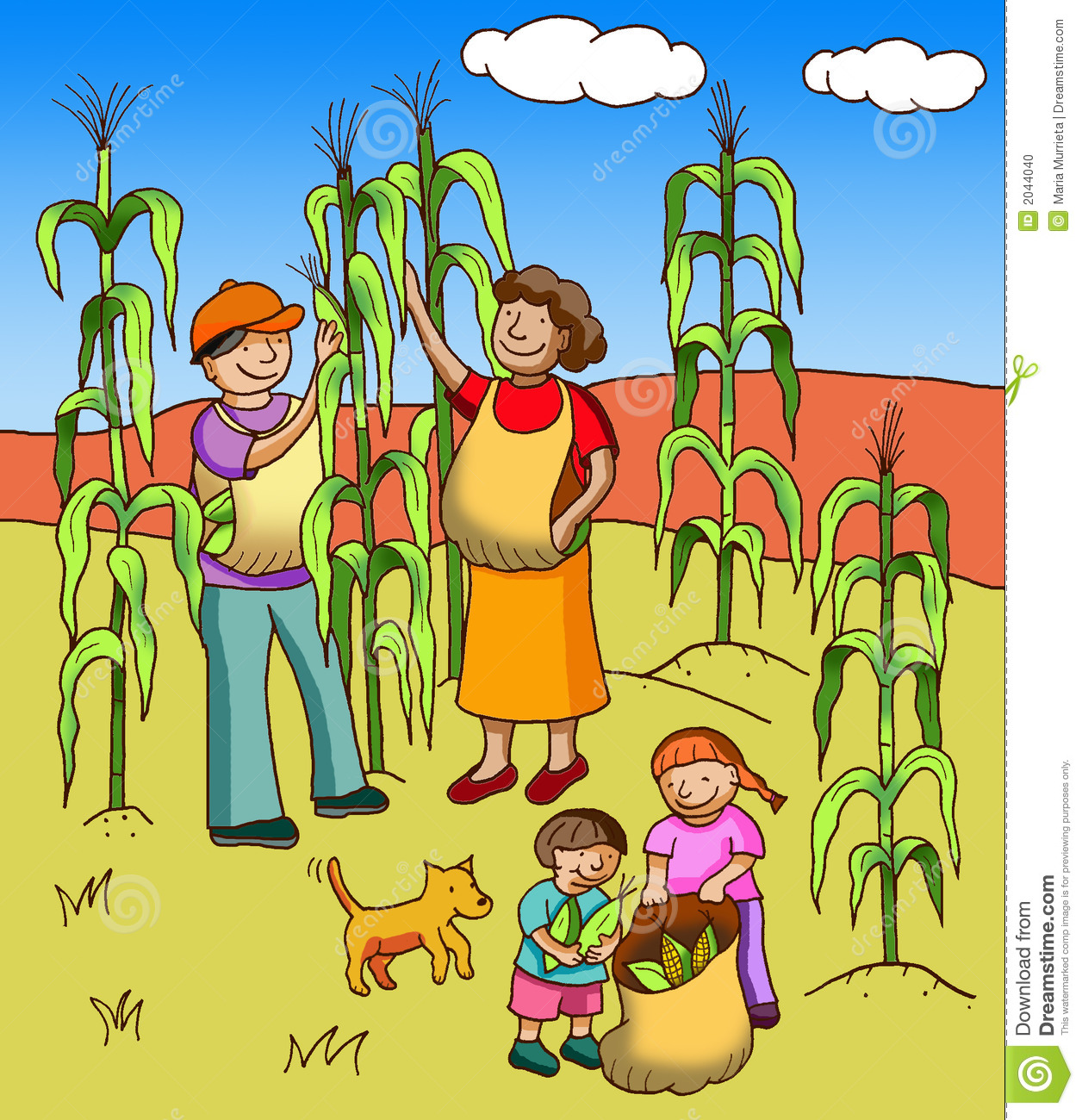 Farm Crops Clipart Family Of Farmers Collecting