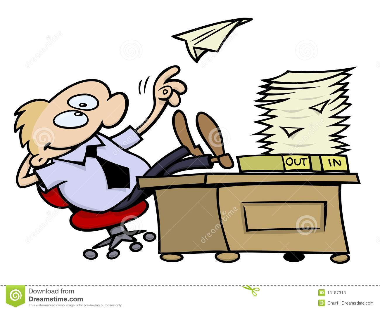 Lazy Toon Guy Throwing A Paper Plane And Resting His Feet On His Desk