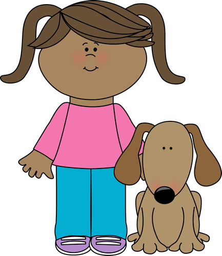 Pet Dog Clip Art Image   Little Girl In Pig Tails With Her Pet Dog