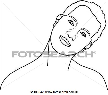 View Of Male Head And Neck Bent To The Left  Sa403042   Search Clipart
