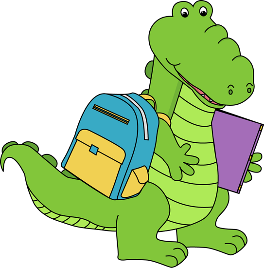Alligator Going To School Clip Art Image   Alligator With A Backpack