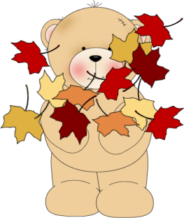 Bear Tossing Leaves Clip Art Image   Cute Bear Tossing Autumn Leaves