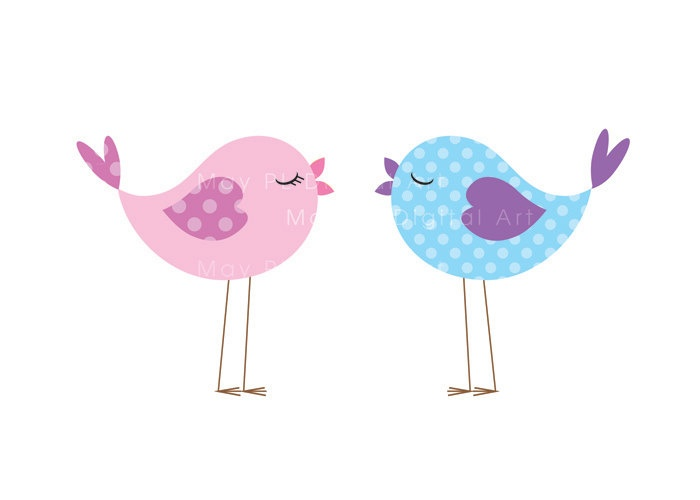 Bird Clip Art Animal Clipart Digital Cute Love Pastel Pink Baby Bird