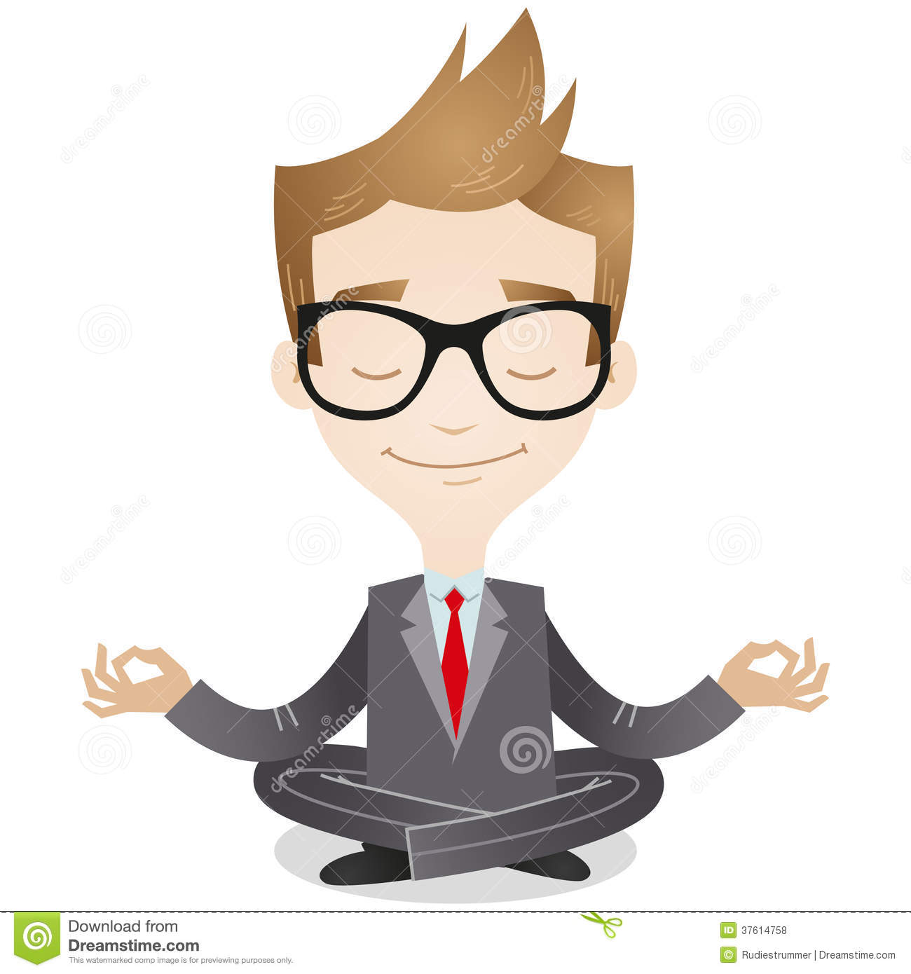 Calm Person Cartoon Calm Businessman Meditating