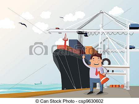 Cargo Ship In Port Figure Of Man In Front Csp9630602   Search Clipart
