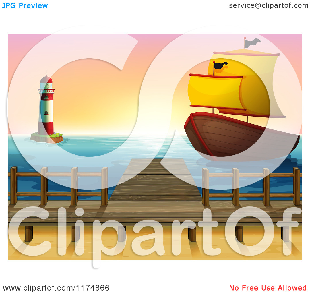 Cartoon Of A Ship Near A Dock And Lighthouse At Sunset   Royalty Free