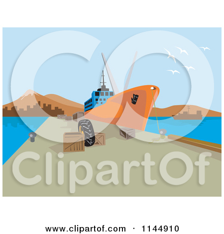 Clipart Of A Cargo Ship At Dock   Royalty Free Vector Illustration By