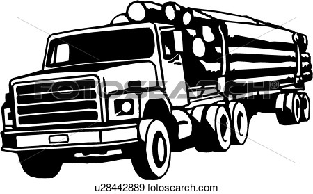 Construction Logging Truck Trade View Large Clip Art Graphic