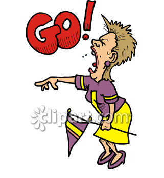 Crazy Woman Football Fan Yelling Go    Royalty Free Clip Art Picture