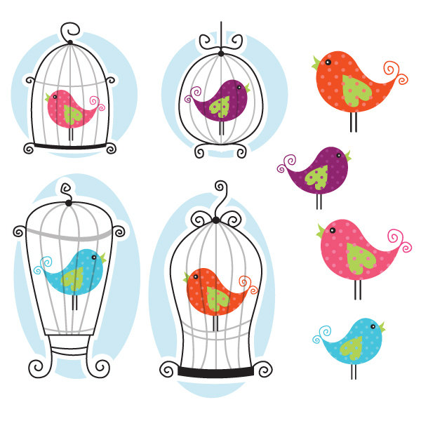 Cute Bird Cage Clipart Great For By Collectivecreation On Etsy