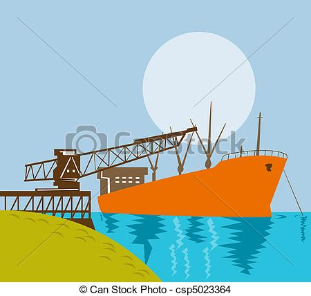 Illustration Of A Crane Loading A Ship In The Water With A Moon On A