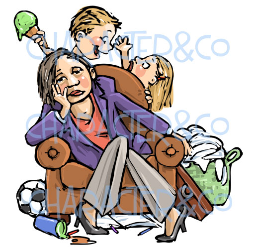 Lady Tired Overworked Housecleaning Clipart Watermark Mum Clipart
