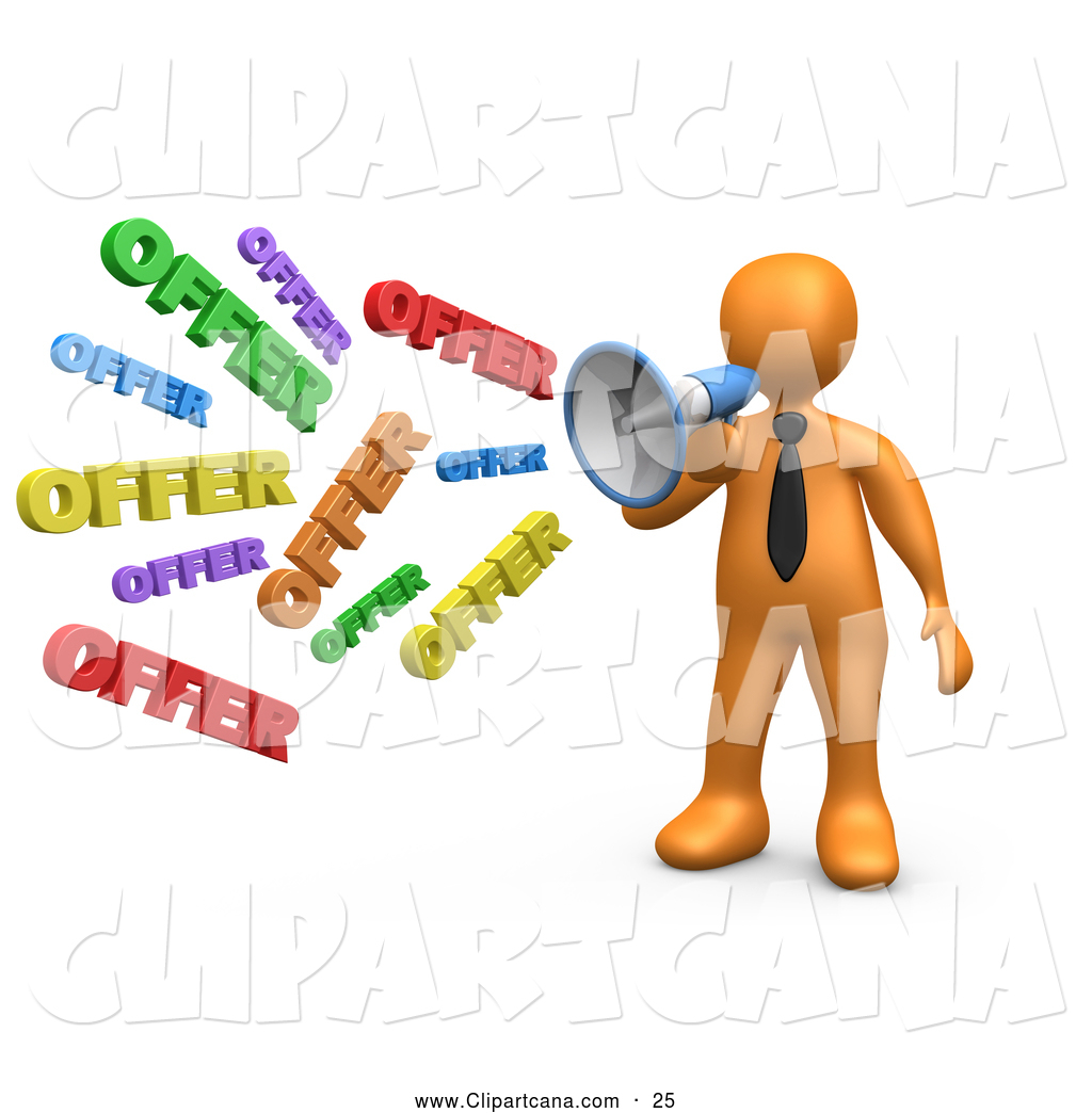 Sales And Marketing Clipart Offer Through A Megaphone Symbolizing Job