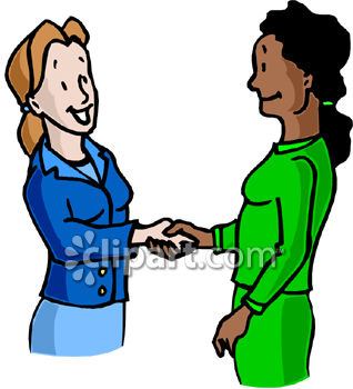 Two Business Women Shaking Hands   Royalty Free Clipart Picture