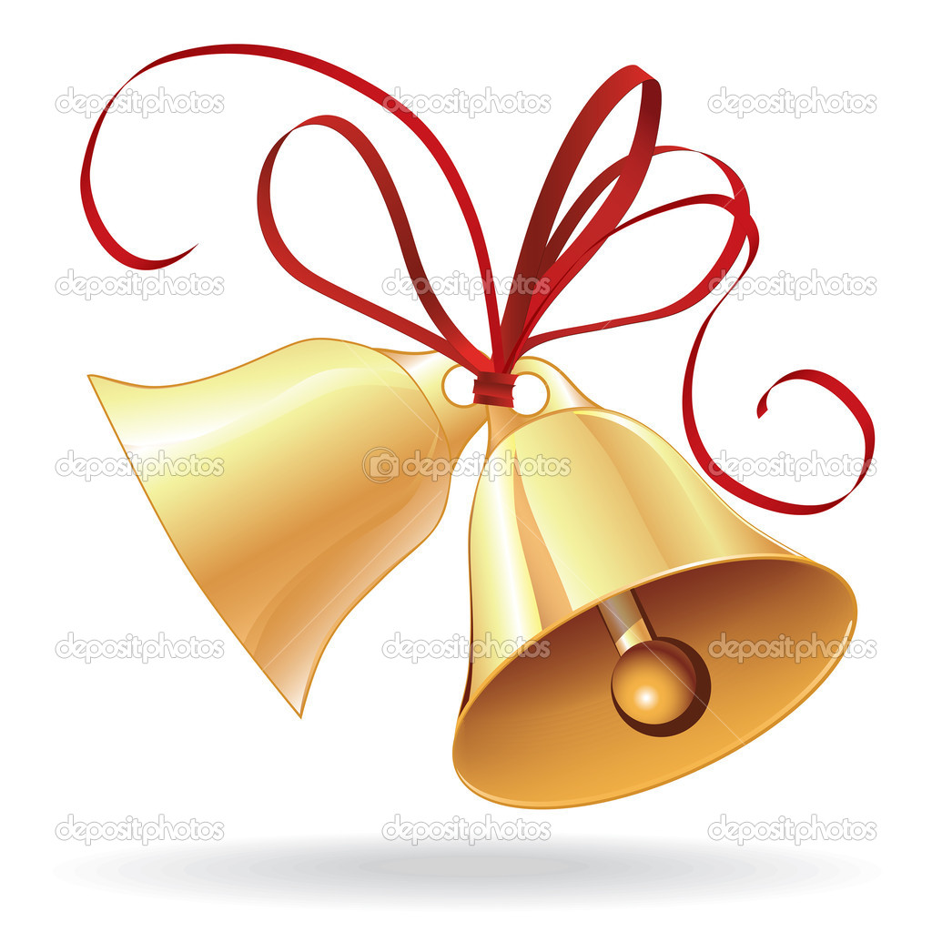 7684991 Bell Golden For  Christmas Or Wedding With Red Bow Jpg