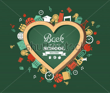 Back To School Heart Shaped Chalkboard Green Background Colorful