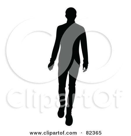 Black Silhouette Of A Male Model Walking Forward By Pams Clipart