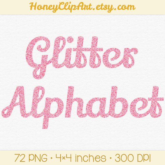 Clip Art Digital Glitter Writing Girls Birthday Clipart Number