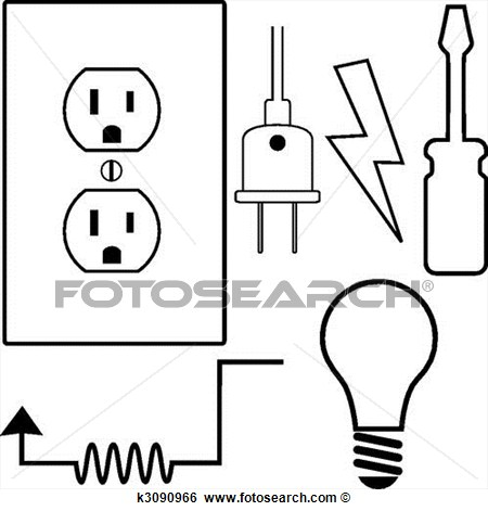 Clip Art Of Electrical Repair Contractor Electrician Symbol Icons Set