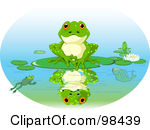 Cute Frog Sitting On A Lily Pad With His Reflection On The Water By