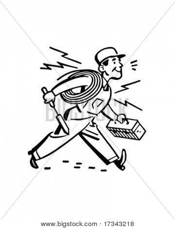 Electrician Hurrying To The Job   Retro Clip Art Stock Vector   Stock
