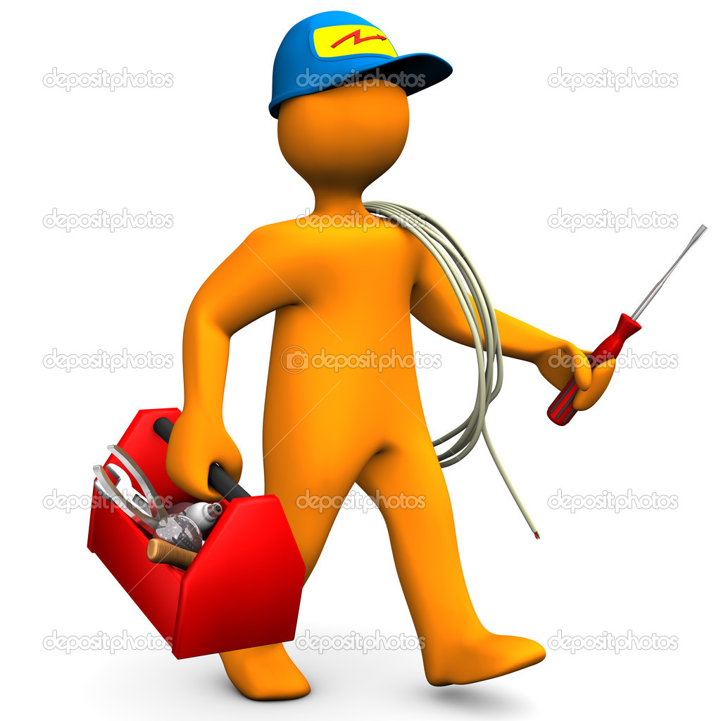 Electrician With Toolbox And Cord   Stock Photo   Limbi007