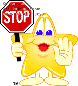 Hand And A Stop Sign Clipart   Clipart Cartoon Star Holding Up A Hand