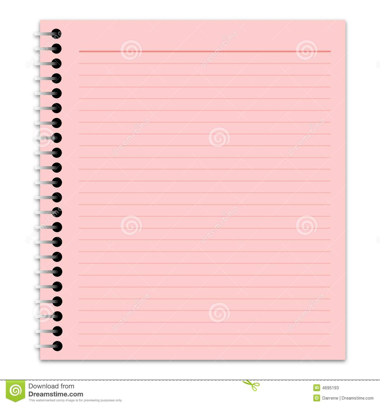 Illustration Of A Lined Pink Notepad Page With Drop Shadow Over A