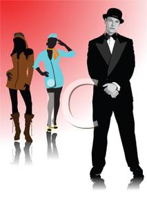 Male Model And Two Female Models Posing   Royalty Free Clipart Picture