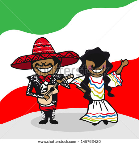 Mexican Man And Woman Cartoon Couple With National Flag Background