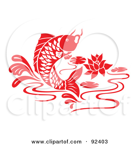 Red Chinese Styled Koi Fish Jumping In A Lily Pond By Cherie Reve