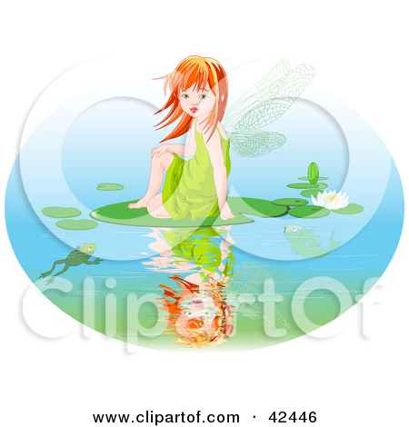 Red Haired Fairy Girl Sitting On A Lily Pad On A Pond By Pushkin