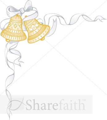 Ribbon Wraps Around Golden Marriage Bells   Christian Wedding Clipart