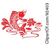 Royalty Free Rf Clipart Illustration Of A Red Chinese Styled Koi Fish